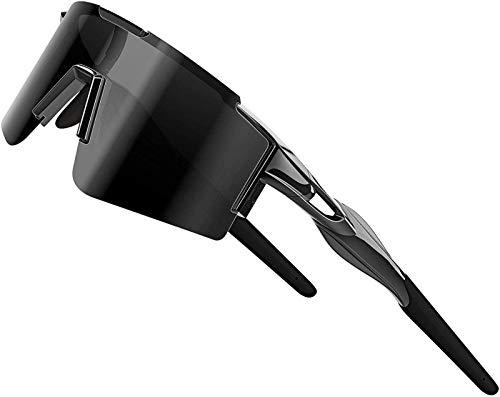 XBSXP Gafas de Sol para Bicicleta Gafas de Sol polarizadas para Ciclismo para Mujeres y Hombres Protección UV Marco Grande, Negro