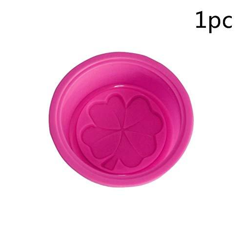 1/2 / 5pcs moules de savon multifonctionnels pour la fabrication de savon silicone moule de savon cercle moule de cuisson moule moules faisant des fournitures, rose rouge 5pcs
