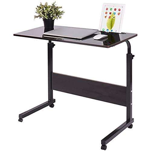 Con ruedas, mesa lateral, mesa auxiliar en forma de C, mesa auxiliar para sofá, 60 * 40 cm, escritorio para computadora portátil, bandeja de elevación móvil, trabajo y escritura en(Color:color madera)