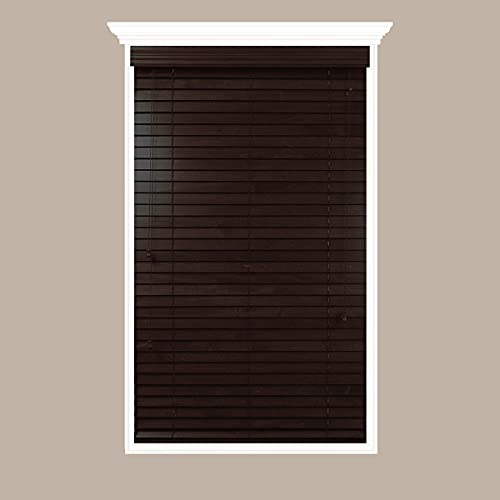 Luxr Blinds Custom-Made Real Wood Horizontal Window Blinds - 20' W x 20 to 36' H - 2' Wooden Slats - Premium Quality Basswood - Red Oak