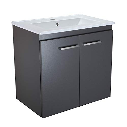 Waschbecken mit Unterschrank Bilbao 60cm Breit Waschplatz Schöner Badchrank mit Waschbecken Graphit Badmöbel Waschtischunterschrank (Graphit)