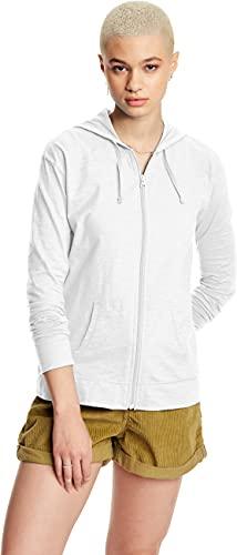Hanes Women's Jersey Full Zip Hoodie, White, Large