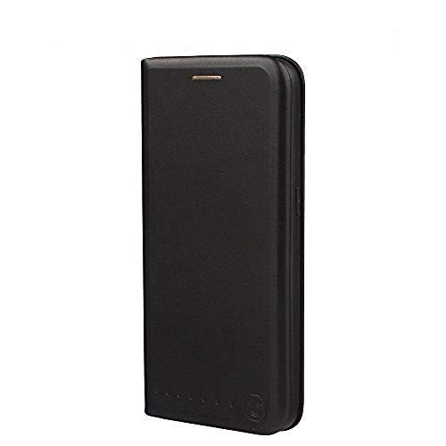 Nouske Lederklapphülle für Samsung Galaxy S7 Hülle Tasche handgefertigt geschwungene Kanten mit Aufsteller und Kartenfach TPU Cover Schutzhülle Onyx Schwarz.