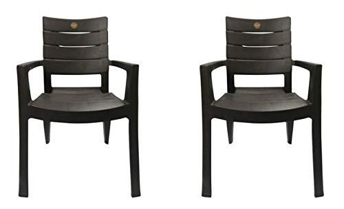 Cello Jordan Plastic High Back Armchair, Set of 2(Brown)