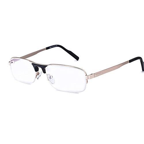 Leesbril Leesbril Heren Lente Scharnieren Roestvrij Staal Materiaal Lezers Frame Leesbrillen (Color : Black, Size : +150)