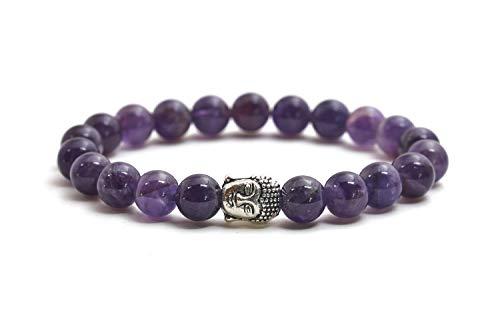 Amatista pulsera de Buda de piedra natural o perlas de piedras volcánicas y perla fina budista - BERGERLIN
