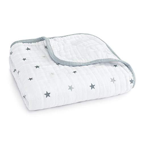 aden + anais - Couverture de rêve dream blanket prélavée en mousseline 100% coton - Imprimé Twinkle - Quadruple-épaisseur 120 cm x 120 cm