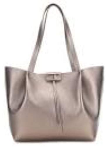 PATRIZIA PEPE Borsa shopping in pelle Large TITANE METAL