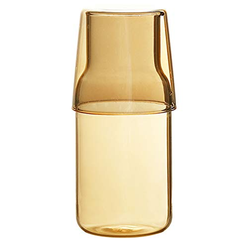 Sizikato 15 Oz Clear Glass Bedside Night Water Carafe with Tumbler Glass.