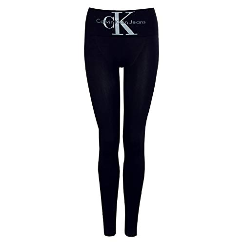 Calvin Klein Socks Womens Legging 1p Logo high Waist Liberty Tights, Black, L