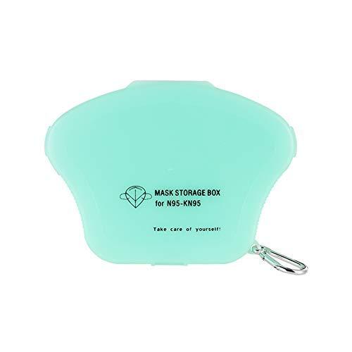 Ousyaah (Enviado en España) Caja de Almacenamiento Portátil para Mascarillas Desechables para Niños Caja de Limpieza a Prueba de Polvo y Humedad Clip de Almacenamiento (Azul)