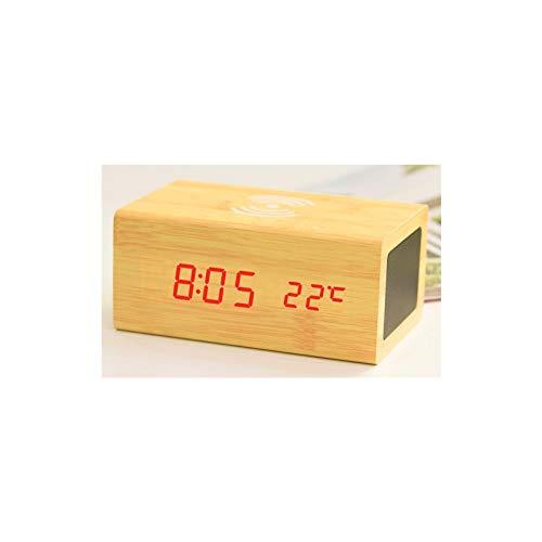 KJCHEN. Altavoz Creativo Bluetooth de Madera Control de Sonido Alarma Teléfono móvil Carro LED Luminoso Mute MULTIFUNCION (Color : Yellow)