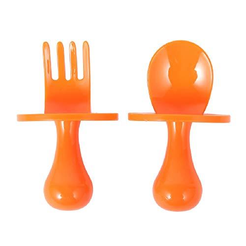 Toddler Cutlery Sets Baby Utensil Self Feeding Kit Children Feeding Training Learning Spoons and Fork Easy Grip 7x4.5cm (Orange, 2Pcs)