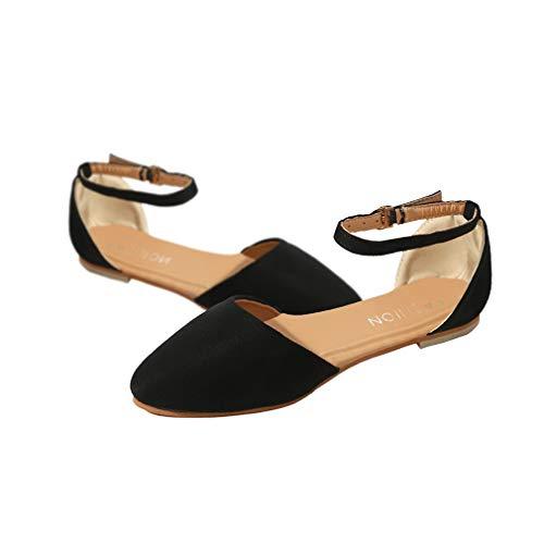 Damen Sandalen Vorne Geschlossene Sandalen Flach Wohnungen Schuhe Schnalle Sandalen Hochzeitsschuhe Pumps Gummisohle Schwarz Khaki 35-43