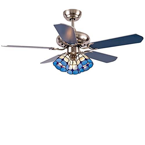 Ventilador de techo con luz de ventilador de techo silencioso claro con 5 cuchillas y 3 lámparas de vidrio azul para la disipación de calor circulante, utilizada para el ventilador de la sala de estar
