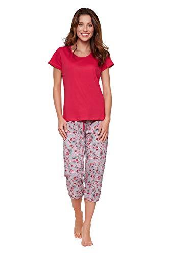 Moonline moderner und bequemer Damen Capri-Pyjama, mit weicher Baumwolle, pink, Gr. L (44/46)