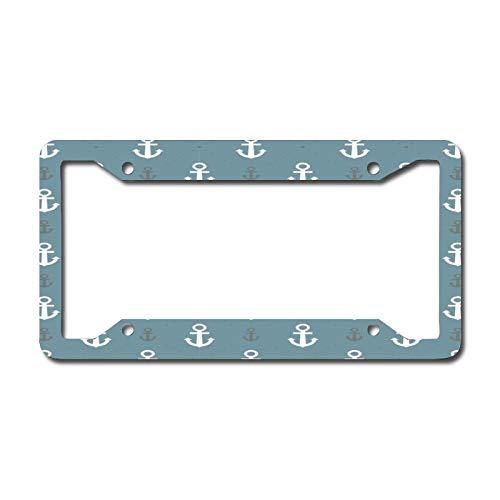 Off White Anchor License Plate Frame Aluminum Metal License Plate Frame Car Tag Novelty Home Decoration for Women Girls Men Boys 6.3 X 12.2 Inch