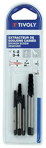 TIVOLY 11111021234 - Kit Extractor de clavos N°1-2-3-4. Para extraer tornillos rotos con la ayuda de un giramachos