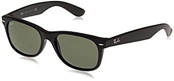 Ray-Ban RB2132 New Wayfarer Sunglasses Rubber Black/Green 55 mm