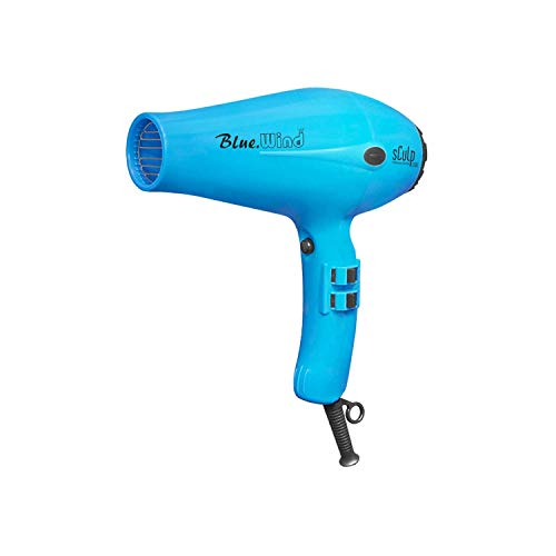 Secador de Pelo Profesional Sculp 3300 Wind Blue, Motor AC de 1800W con 2 Boquillas Concentradoras de Aire, 2 Velocidades y 3 Temperaturas, Botón de Aire Frío, Azul