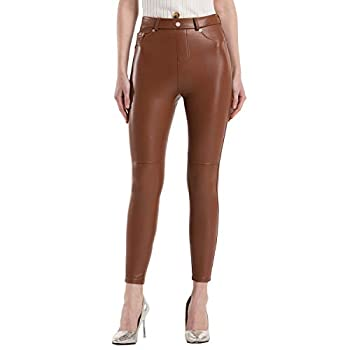 Tagoo Faux Leather Leggings for Women High Waisted Pleather Pants Stretch Tights with Pockets Brown