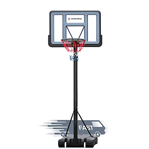 WIN.MAX Portable Basketball Hoop Goal System 5-10ft Adjustable 44in Backboard for Kids/Adults Indoor Outdoor (PVC...