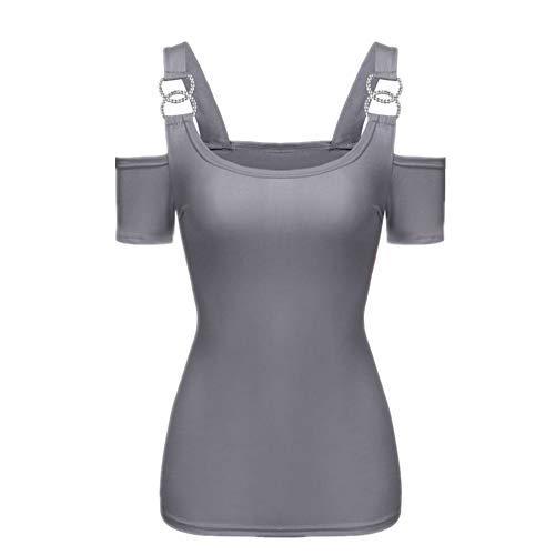 Einfarbiges sexy kurzärmeliges trägerloses T-Shirt-Oberteil für Sommerfrauen