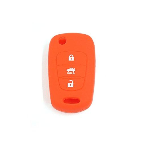sourcing map Orange Housse en silicone support à distance Coque de clé 3 boutons pour voiture