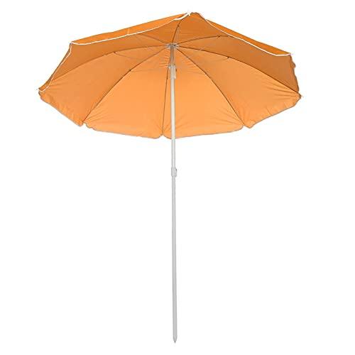 Sombrilla 1.8m Playa al Aire Libre Paraguas Ajustable Polos de Acero Jardín Patio Sombrilla Sombrilla Parasol Sombra Redonda Paraguas para Piscina Camping Picnic (Color : Orange)
