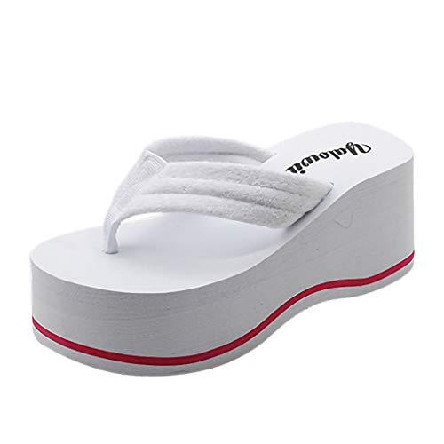 Damen Zehentrenner Sommer Keilabsatz Plateau Zehenstegsandalen mit Label, Frauen Flip Flops Bequeme Strandpantolette Sandalen Celucke (Weiß, EU37)