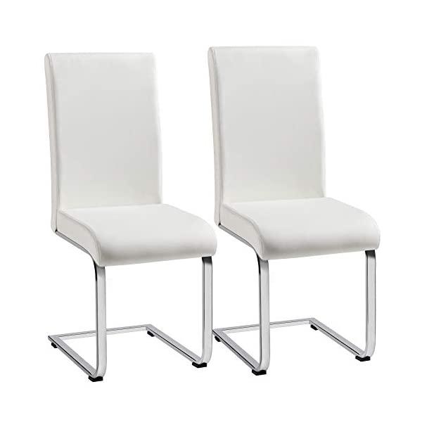 YAHEETECH Living Room Chairs with PU Leather Surface Modern Design Pre Assembled, Upholstered Chairs for Bedroom, Office, Kitchen, Set of 2, White