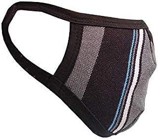 NestRoots Cloth pack of 1 Face Mask Washable Reusable Face Masks Outdoor Protection   Soft Earloop/Mouth Nose Cover face masks Men Women Kids Unisex (Black Grey stripe)