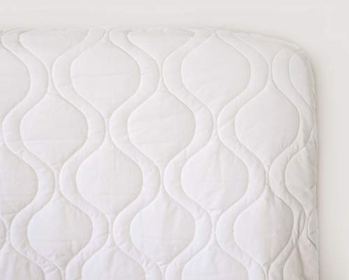 SheetWorld Quilted Fitted Basket Mattress Pad 13 x 27, Solid White, Made in USA