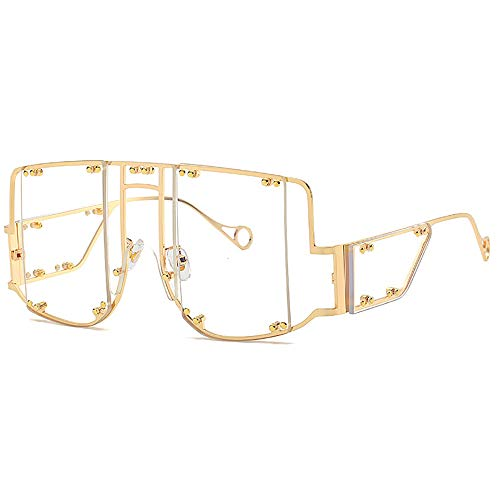 Mode Flat Top Rihanna Sonnenbrille Damen Anti-Blue Light Sonnenbrille Retro Square Sonnenbrille Design Rivet Sonnenbrille Clear Lens