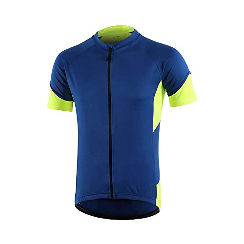 Dooy Cycling Bike Jersey Men Short Sleeve Biking Shirts with 3+1 RearPockets, Breathable Quick Dry Bicycle Jerseys (Blue, S)