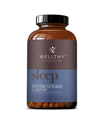 Wellthy Sleep All Natural Night Time Fat Burner & Sleep Aid - Fat Burners for Men & Women - Natural Sleep Aid & Weight Loss Supplement - 60 Vegetarian Capsules