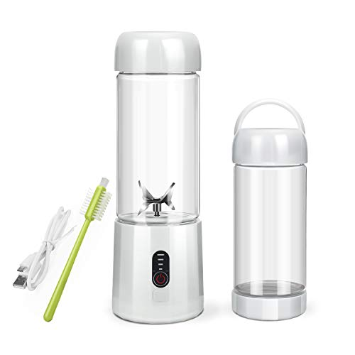 Personal Portable Blender with 480ml Travel Bottle, USB Rechargeable Single Served Smoothie Blender...