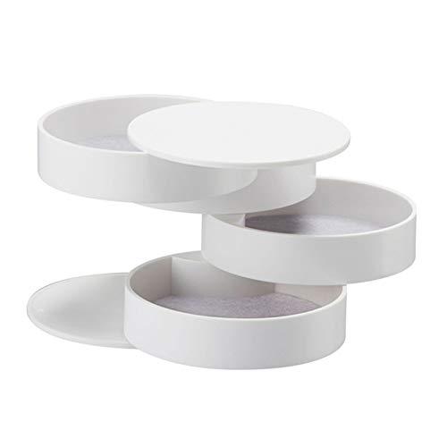 Organizador de Caja de joyería Caja de Almacenamiento de Joyas Bandeja de Almacenamiento de Accesorios de joyería giratoria de 4 Capas con Caja de cosméticos de la Tapa Caja de Almacenamiento de Caja