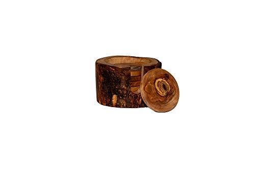 Posavasos rústicos para vasos de cerveza, redondos, de madera de olivo, en juego de 6, 9 cm, incluye caja de almacenamiento para vasos, tazas y jarrones