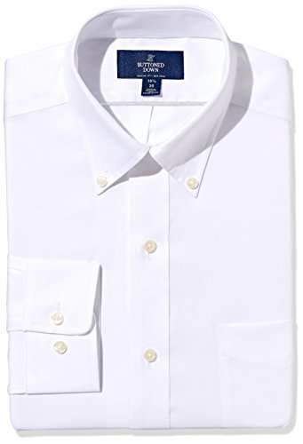 Amazon Brand - Buttoned Down Men's Classic Fit Button Collar Solid Non-Iron Dress Shirt White w/ Pocket 15.5' Neck 33' Sleeve