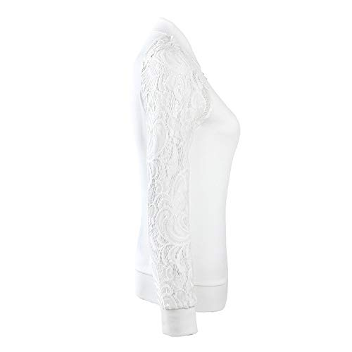 Aniywn Women's Zipper Lightweight Jacket Coat Ladies Lace Long Sleeve Solid Casual Blazer Suit Outwear Tops(White,L)