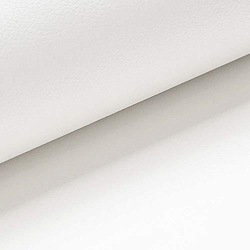 NOVELY® Soltau | 1 lfm | weiches Kunstleder PU Premium Qualität Polsterstoff mehr als 100.000 Touren Echtleder-Optik Möbelstoff (17 Weiß)