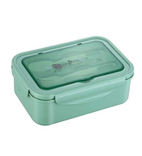 Caja de almuerzo, Caja de Bento con 3 Compartimentos y Cubiertos(Tenedor y Cuchara), Fiambreras Caja de Alimentos Ideal para Almuerzo y Bocadillos para Niños y Adultos