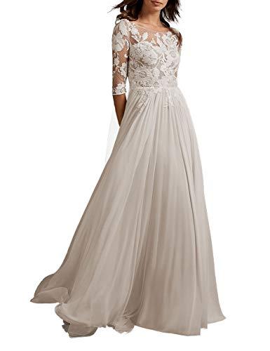 HUINI Vintage Brautkleid Hochzeitskleid Lang Chiffon Prinzessin Standesamtkleid Brautmode mit Ärmel Elfenbein 36