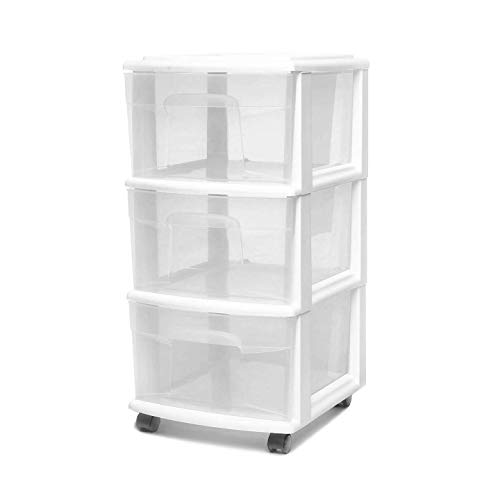 HOMZ 3 Drawer Medium Storage Cart, Set of 1, White