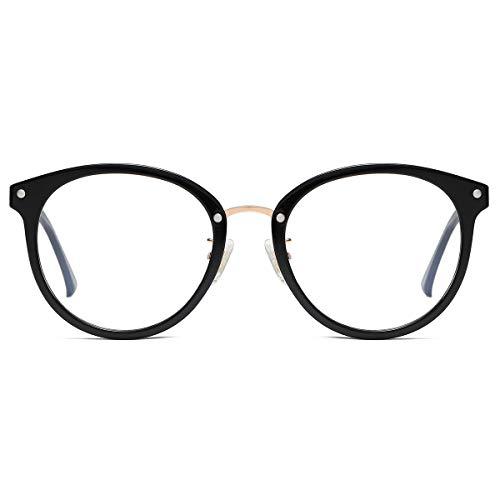 SOJOS Rund Groß Brille mit Blaulichtfilter ohne Sehstärke Anti-Blaulicht Gläser Brille SJ9001 Ashley mit Schwarzem Rahmen/Anti-Blau-Lichtlinse