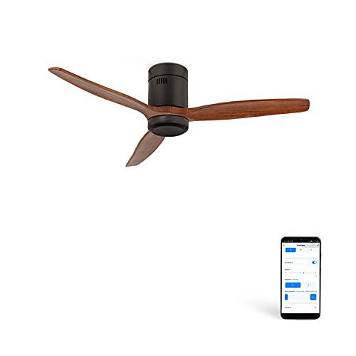 CREATE IKOHS WINDCALM DC STYLANCE - Ventilador de Techo Wifi, con Mando a Distancia, 3 Aspas, Potencia de 40W, Ultrasilencioso, 132 cm de Diametro, 6 Velocidades (Negro y madera oscura)