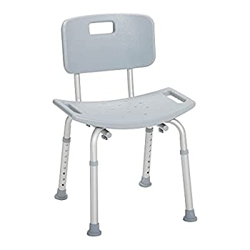 Drive Medical RTL12202KDR Handicap Bathroom Bench with Back Grey