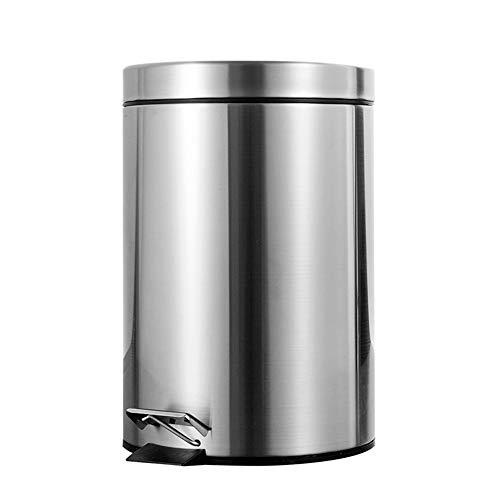 Accesorios 7L Cuarto de baño Bote de Basura Paso Paso Pedal Cubo de Basura Cubo de Basura con Tapa Mini Escritorio Aseo Cocina Cubo de Coche Cubo de Basura Regalo (Capacity : 7L, Color : Silver)