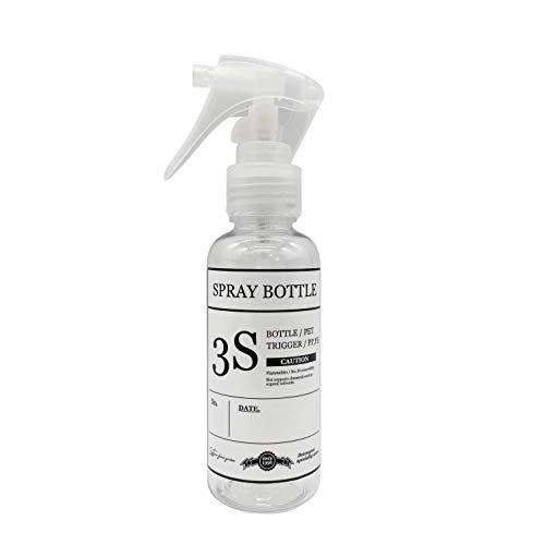 スリーエス 柔らかミストを噴霧する コンパクトノズル スプレーボトル 霧吹き 容器 クリアー きれいに剥がせるラベル付き 100ML